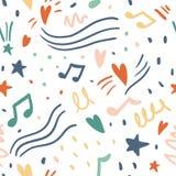 Muzyczny bezszwowy wektoru wzór z ślicznymi sercami, notatki ilustracja wektor