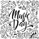 Muzyczny dnia literowania skład Ręka rysujący kaligrafia plakat również zwrócić corel ilustracji wektora royalty ilustracja