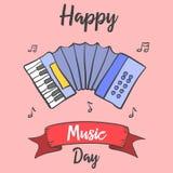 Muzyczny dzień karty doodle styl