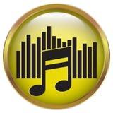 Muzyczny ikona symbol z złoto ramą Obrazy Royalty Free