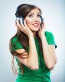 Muzyczny kobieta portret Kobiety wzorcowy studio odizolowywający Obraz Royalty Free