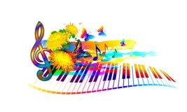 Muzyczny lato festiwalu tło z fortepianową klawiaturą, kwiatami, muzyk notatkami i motylem, Zdjęcia Royalty Free