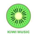 Muzyczny loga pianino jako kiwi owoc ikona kolorowa Obrazy Royalty Free