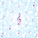 Muzyczny notatka wybuch w Błękitnym akwarela wzoru tle ilustracji