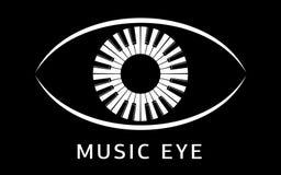 Muzyczny oko loga pianino jako uczeń ikona, prosty styl Obrazy Stock