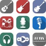 Muzyczny płaski ikona set Fotografia Royalty Free