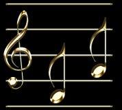 Muzyczny pentagram z złotym treble clef i notatki ilustracją - muzyczny temat ilustracja wektor