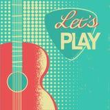 Muzyczny plakat z gitarą akustyczną na starym retro papierowym tle royalty ilustracja