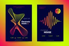 Muzyczny Plakatowy Ustawiający z Falistymi liniami i cyklami ilustracji