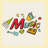 Muzyczny pojęcie z muzykalnymi notatkami i instrumentem ilustracja wektor