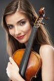 Muzyczny portret młoda kobieta Skrzypcowa sztuka Obrazy Royalty Free