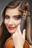 Muzyczny portret młoda kobieta Skrzypcowa sztuka Obraz Stock