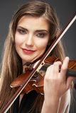 Muzyczny portret młoda kobieta Skrzypcowa sztuka Zdjęcie Stock