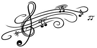 Muzyczny prześcieradło, clef Fotografia Royalty Free