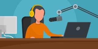 Muzyczny radio staci sztandar horyzontalny, mieszkanie styl ilustracji