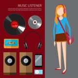 Muzyczny słuchacz Obrazy Stock