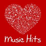 Muzyczny serce z notatkami i musicali/lów symbolami ilustracja wektor
