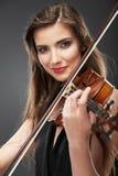 Muzyczny skrzypce kobieta się blisko powierzchni Obrazy Royalty Free