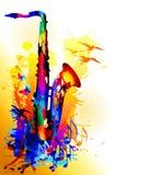Muzyczny tło z saksofonem, muzykalnymi notatkami i latającymi ptakami, Obraz Royalty Free