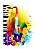 Muzyczny tło z saksofonem, pianinem, muzykalnymi notatkami i latającymi ptakami, Zdjęcia Royalty Free