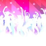 Muzyczny tło z dancingowymi dziewczynami Zdjęcie Royalty Free