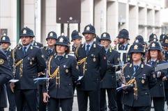 Muzyczny zespół lokalna policja w Milano obraz royalty free
