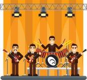 Muzyczny zespół na scenie występu przedstawienie Obraz Royalty Free
