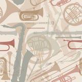 Muzycznych instrumentów bezszwowa tekstura. Zdjęcia Royalty Free