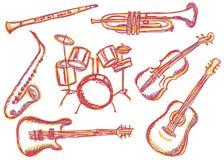 Muzycznych instrumentów doodles Obraz Stock