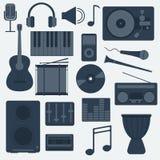 Muzycznych instrumentów i gadżetów ikony Duży wektorowy set Zdjęcia Stock