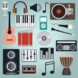 Muzycznych instrumentów i gadżetów ikony Duży wektorowy set Zdjęcie Stock