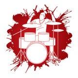 Muzyk bawić się bęben, Muzyczny zespół royalty ilustracja