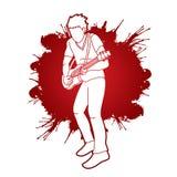 Muzyk bawić się gitarę elektryczną, Muzyczny zespół ilustracja wektor