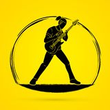 Muzyk bawić się gitarę elektryczną, Muzyczny zespół royalty ilustracja