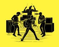 Muzyk bawić się muzykę wpólnie, Muzyczny zespół ilustracji