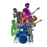 Muzyk bawić się muzykę wpólnie, Muzyczny zespół royalty ilustracja