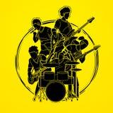 Muzyk bawić się muzykę wpólnie, Muzyczny zespół ilustracja wektor