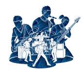 Muzyk bawić się muzykę wpólnie, Muzyczny zespół, artysta royalty ilustracja