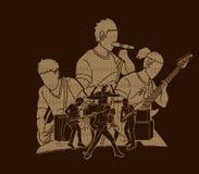 Muzyk bawić się muzykę wpólnie, Muzyczny zespół, artysta ilustracji