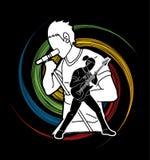 Muzyk bawić się muzykę wpólnie, Muzyczny zespół, artysta ilustracja wektor