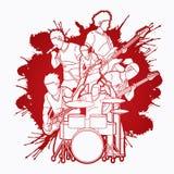 Muzyk bawić się muzykę wpólnie, Muzyczny zespół grafiki wektor royalty ilustracja