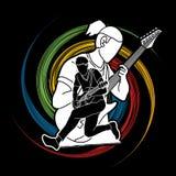 Muzyk bawić się muzykę wpólnie, Muzyczny zespół, mężczyzna bawić się gitarę elektryczną ilustracji