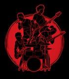 Muzyk bawić się muzykę wpólnie, Muzyczny zespołu skład ilustracja wektor