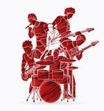 Muzyk bawić się muzykę wpólnie, Muzyczny zespołu skład royalty ilustracja