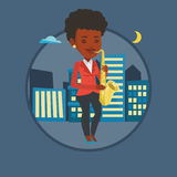 Muzyk bawić się na saksofonowej wektorowej ilustraci Obraz Royalty Free
