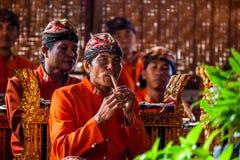 Muzyk bawić się przy tradycyjnym przedstawieniem w Bali Zdjęcia Stock
