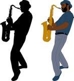 Muzyk bawić się saksofonową ilustrację i sylwetkę royalty ilustracja