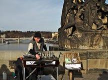 Muzyk na Charles moscie w Praga Fotografia Stock