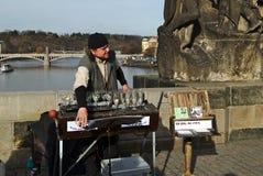 Muzyk na Charles moscie w Praga bawić się szkła Zdjęcie Royalty Free