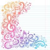 Muzyk notatek Szkicowa szkoła Doodles Wektorowego Illustra royalty ilustracja